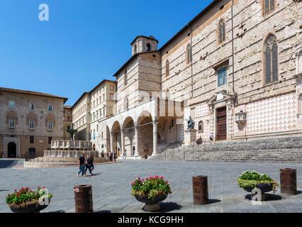 Perugia Cathedral (Duomo), Piazza IV Novembre, Perugia, Umbria, Italy - Stock Photo