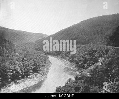 United States of America, landscape on the Pennsylvania railroad, mountains, valley and river along the route, Alleghany - Stock Photo