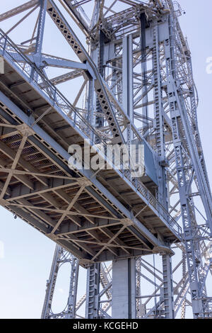 JULY 7, 2012: Duluth, Minnesota/USA - A view from the underside of the Duluth Lift Bridge on Lake Superior. - Stock Photo