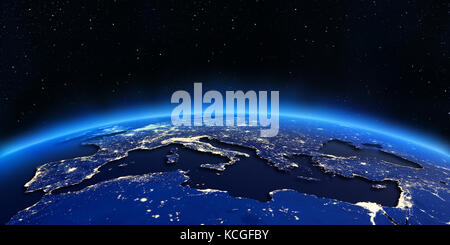 Europe and north africa city lights at night 3d rendering Stock