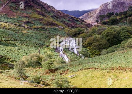 Rapids and waterfalls of Afon Cwm Llan viewed from the Watkin Path Snowdonia National Park, Wales - Stock Photo