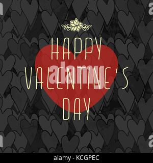 Grunge Dirty Valentine's Card With Seamless Pattern With Hearts - Stock Photo