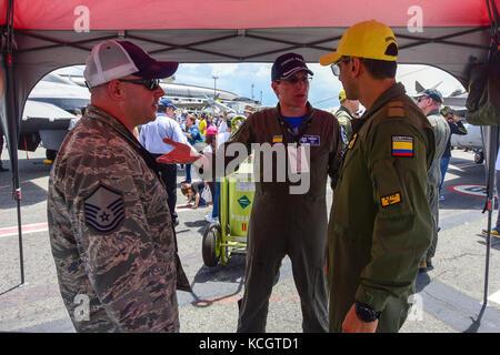 U.S. Air Force Master Sgt. John Bonovich, an avionics technician assigned to the 169th Aircraft Maintenance Squadron, - Stock Photo