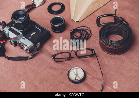 Men's accessories, shoes, belt, glasses, wallet, watch, smart phone, camera - Stock Photo