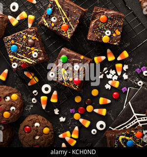 Chocolate monster brownies homemade treats for Halloween - Stock Photo
