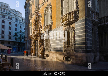 Ceramics museum Valencia, view of the baroque facade of the Palacio del Marques de Dos Aguas (the Museo Nacional - Stock Photo