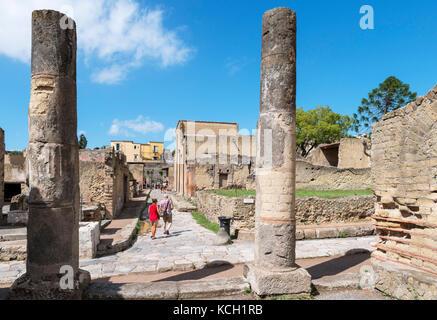 Roman ruins at Herculaneum (Ercolano) viewed from the Vestibolo della Palestra, Naples, Campania, Italy - Stock Photo