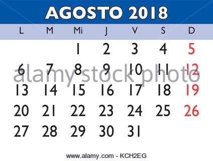 August Month In A Year 2018 Wall Calendar In Spanish Agosto 2018