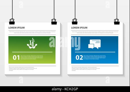 Vector illustration. Infographic pattern on a suspended sheet of paper. 3d style with two steps. Used for business - Stock Photo
