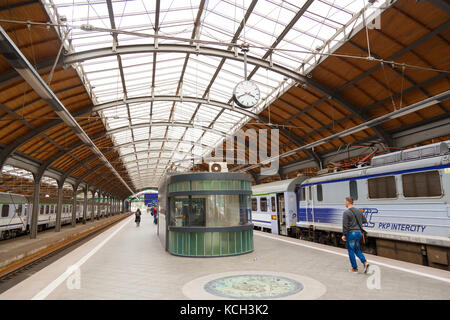 WROCLAW, POLAND - September 15, 2017: Platform in an old style at the railway station in Wroclaw - Stock Photo