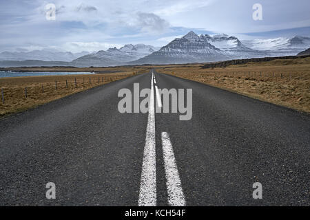 Suburban roadway in Iceland - Stock Photo