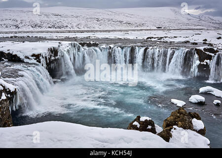 Icelandic landscape with waterfall - Stock Photo