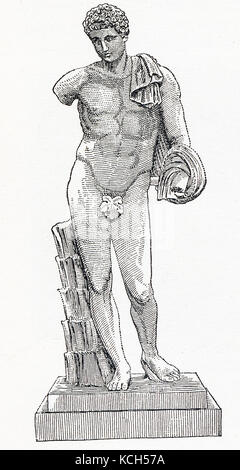 This drawing from 1898 is of the famed statue known as Hermes Belvedere. This coarse-grained white marble statue - Stock Photo