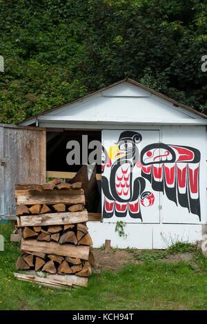 aboriginal canoe in shed alert bay cormorant island vancouver island british columbia - Garden Sheds Vancouver Island