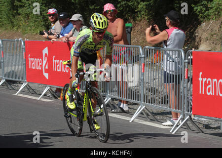 CAUTERETS, FRANCE, July 15, 2015 : Pole profesionnal cyclist Rafal Majka wins in Cauterets the 11th stage of Tour - Stock Photo