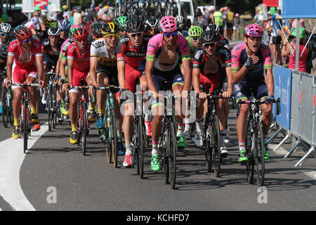 CAUTERETS, FRANCE, July 15, 2015 : The grupetto in the last climb of the 11th stage of Tour de France. Grupetto - Stock Photo