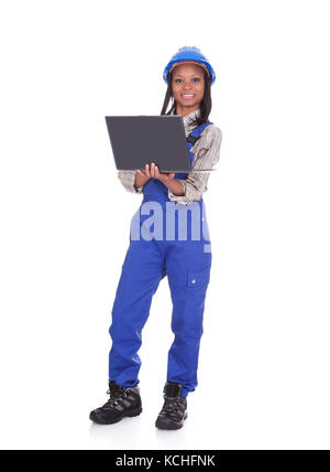 Portrait Of Female Worker With Laptop. Isolated On White - Stock Photo