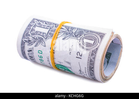 rolled dollar banknotes closeup isolated on white background - Stock Photo