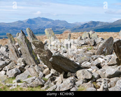 Bryn Cader Faner, a Bronze Age round cairn in the north of Snowdonia's Rhinog mountains. Snowdon in view behind - Stock Photo