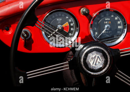 LE MANS, FRANCE, July 8, 2016 : Cockpit of an old racing car of Le Mans Classic on the circuit of the 24 hours. - Stock Photo
