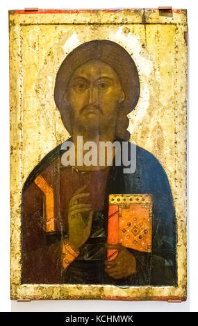 Veliky Novgorod; Russia - August 17; 2017: Antique Russian orthodox icon of Christ Pantocrator painted on wooden - Stock Photo