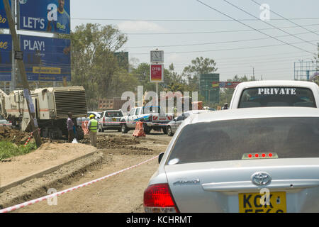 Vehicles stuck in traffic jam due to roadworks on Ngong Road into Nairobi Central Business District (CBD), Kenya - Stock Photo