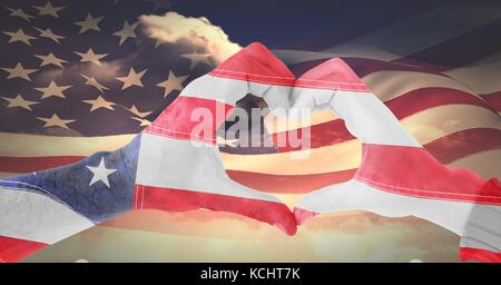 Digital composite of Veterans day, flag usa on hands - Stock Photo