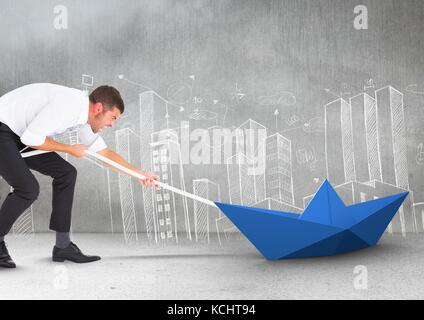Digital composite of Businessman pulling paper boat with rope in room - Stock Photo