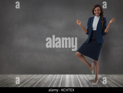 Digital composite of Businesswoman standing on one leg in room - Stock Photo