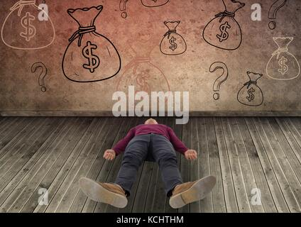 Digital composite of man laying down in front of money on wall - Stock Photo