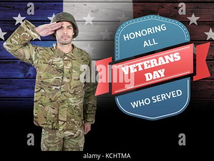 Digital composite of veterans day soldier in front of flag - Stock Photo