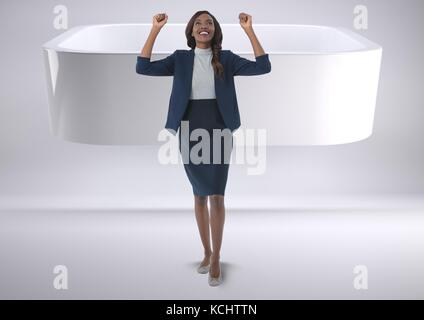Digital composite of Businesswoman celebrating success in minimal room - Stock Photo