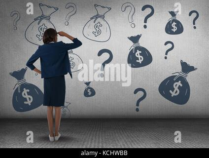 Digital composite of businesswomman in front of money on wall - Stock Photo
