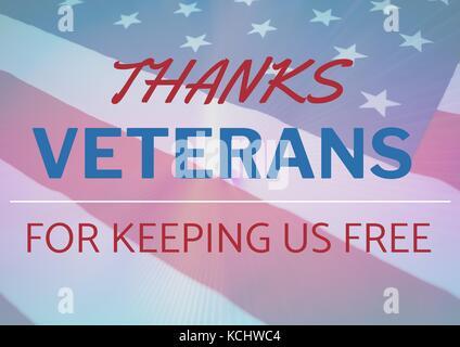 Digital composite of veterans day flag - Stock Photo