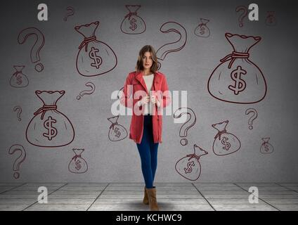 Digital composite of woman in front of money on wall - Stock Photo
