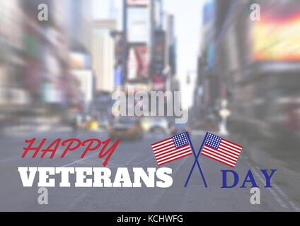 Digital composite of veterans day flag - Stock Photo