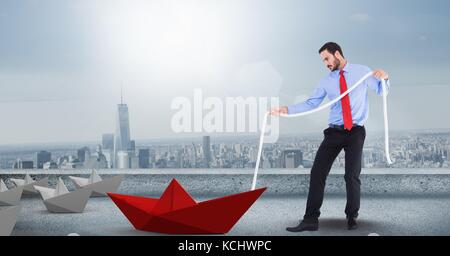 Digital composite of Man with rope pulling 3d paper boat - Stock Photo