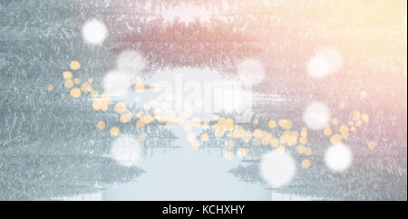 Scenic view of snow covered landscape with bokeh in foreground - Stock Photo