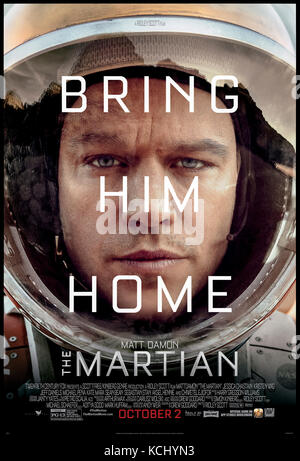 The Martian (2015) directed by Ridley Scott and starring Matt Damon, Jessica Chastain and Kristen Wiig. An astronaut - Stock Photo