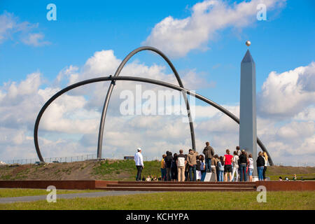 Germany, Ruhr area, Herten, obelisk on the heap Hoheward (the obelisk is the indicator of a large sund dial) behind - Stock Photo