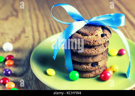 chocolate cookies ribbon candy - Stock Photo