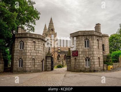 Entry gate to St Machar cathedral in Aberdeen city, Scotland - Stock Photo