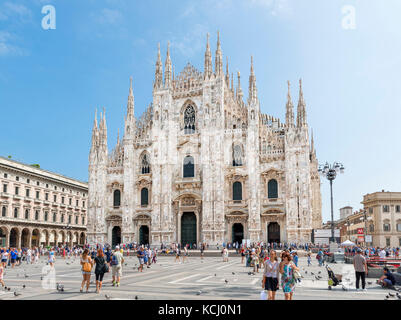 Milan Cathedral (Duomo di Milano) from the Piazza del Duomo, Milan, Lombardy, Italy - Stock Photo