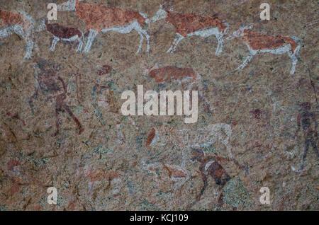 Detailled bushmen or San rock paintings at the White Lady panel, Brandberg, Damaraland, Namibia, Southern Africa - Stock Photo