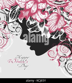 Silhouette of a woman decorated hand drawn flowers for Happy Womens Day - Stock Photo