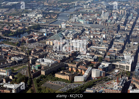 aerial view of the Glasgow city centre skyline towards the Station & St Enochs Shopping Centre, Scotland, UK - Stock Photo