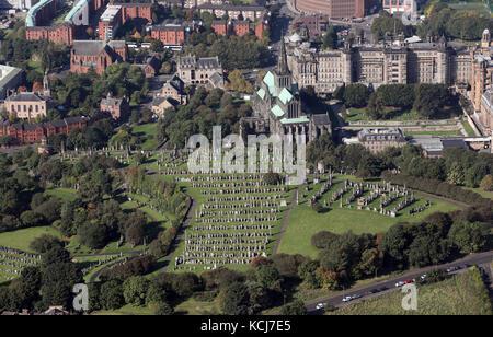 aerial view of the Glasgow Necropolis & Cathedral, Scotland, UK - Stock Photo