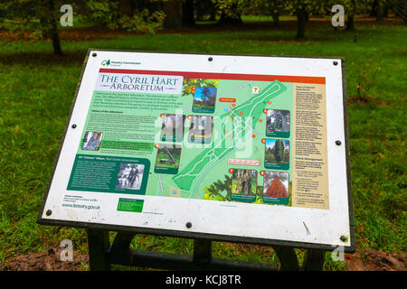 A notice board and map at the Cyril Hart Arboretum in The Forest of Dean Arboretum near Speech House, Coleford, - Stock Photo