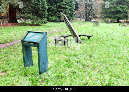The 'Passage of Time' sundial at the Cyril Hart Arboretum in The Forest of Dean Arboretum near Speech House, Coleford, - Stock Photo