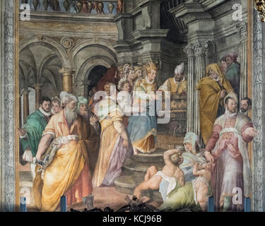 Rome. Italy. Empress Eudoxia hands over the chains of the Apostle Peter to the pope, fresco by Jacopo Coppi (1523 - Stock Photo